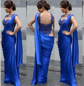 Arabic Indian Evening Dresses 2020 Sexy Royal Blue Sheath Applique Sheer Party Formal Prom Gowns robes de soirée