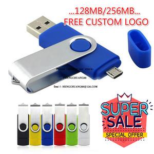 도매 OTG Pendrive 플래시 드라이브 로타리 USB 256MB 펜 드라이브 무료 스틱 USB 사용자 정의 컬러 멀티 컬러 128MB 메모리 소형 메모리 로고 ESCVS