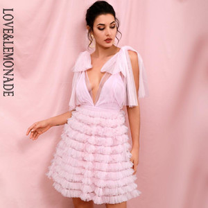 Rosa do amor LEMONADE Sexy malha profundo decote em V Stacked Ruffled Puffy Mini vestido de festa LM82389