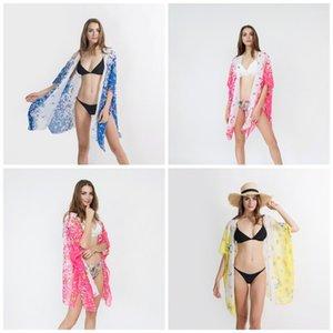 Petit motif imprimé papillons Cover Ups Mer Location de vacances Bikini Châle Manteau Lady Pour protection solaire plage piscine 18 5SZ E1