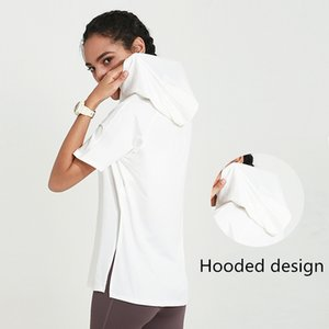 Spring and summer new hooded running blouse loose fitness clothes female breathable quick-drying short-sleeved yoga clothes