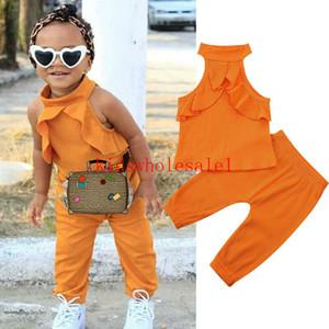 Criança encantadora Criança Baby Girl Clothes Define Ruffles mangas Sólidos Tops + calças compridas Conjuntos 2pcs set