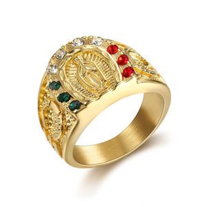 Heißer Verkaufs-Retro- klassische Statue Edelstahl-Ring-Titanstahl Religious CZ Schmuck Männer Buddhist Ring JZ1673N