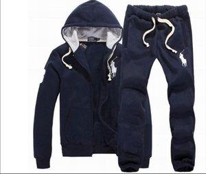 2019 pantalones de la chaqueta sudaderas con capucha y de deporte del polo del hombre de los hombres de jogging basculador Establece chándales de caballos del cuello alto Deportes Big Sweat Suits