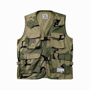 20SS Japon Retro Kamuflaj çok cepli yelek erkekler ve kadınlar Gevşek Tek Breasted Kolsuz Ceket büyük boy Yelek