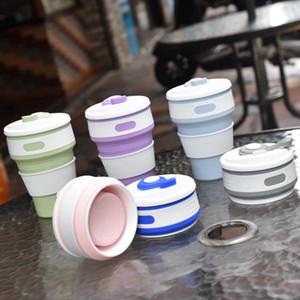 Folding garrafa de água 350ml capacidade criativa portátil Bottle Cup Silicone Sports copos de café de viagem dobrável água Garrafas RRA3075