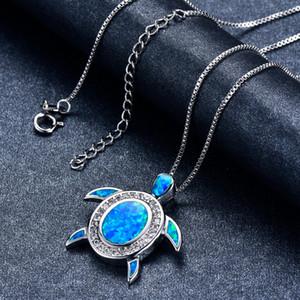 Luxe Argent 925 Cute Sea tortue Pendentif bleu opale de feu Collier de mariée de fiançailles Collier à breloques Bijoux animaux
