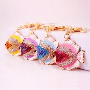 Colorful Tropical Fish portachiavi di Keychain di nuovo arrivo del pendente del metallo di chiave dell'automobile di catene d'oro tono di cristallo strass lega dello smalto Portachiavi Animal