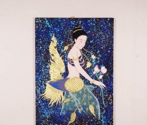 Thai Personnages Peints À La Main Beauté Peinture À L'huile Peintures Murales Décoration Home Hôtel Restaurant Décoration Murale Peinture