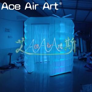 Kiralama şişme sahne dekorasyon hava sekizgen photo booth, led aydınlatma ve perde ile kübik parti çadır