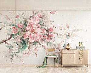 3D Photo Wallpaper Home Decor Fresh Watercolor Style Pink Cherry Blossom TV background Wall HD Decorative Beautiful Wallpaper