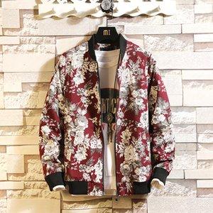 2020 New Floral Men Jacket Japanese Street Windbreaker Bomber Jacket Fashion Printing Design Men's Jacket Brand Men's Clothing