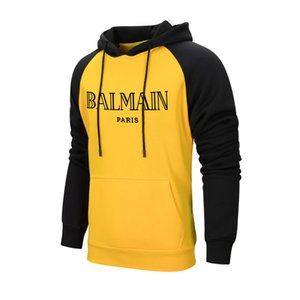 2019 Balmain Sweatshirt Bekleidung Schwarz Weiß EURO Größe Hoodies BALMAIN Running Basketball Apparel Elastizität Big Jackets