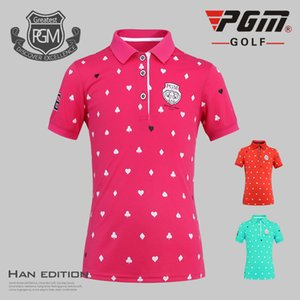 PGM Mädchen-Golf-T-Shirt Sommer-Kurzschluss-Hülsen-Druck-Hemd Mädchen Breathable Anti-Schweiß Tops Schnell trocknend Sport Wear AA51875