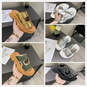 2020 Роскошная женская лето сандалии пляжа Slide Casual Тапочки женские 35-40 с коробкой. комбинаты Metallic двойной негабаритный резины