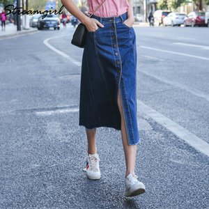 Pulsante Streamgirl Denim Gonna Donne Fronte Gonne Donna Linea pulsante gonna lunga nappa jeans lungo gonne per le donne Estate 2020