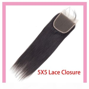Малазийский человеческих волос 5X5 кружева Закрытие Straight Virgin волос Оптовая 5 К 5 Закрытие с ребенком шелковистых волос Straight 5X5 Размер