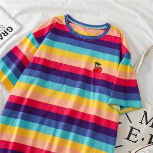 Plus Size korean Style Rainbow Stripes Oversized T-shirt 2020 Summer Ulzzang Harajuk T Shirts Kawaii Loose Women Tops Tee Female