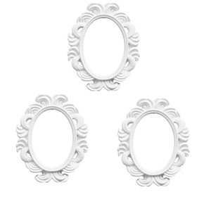 3 Pcs. White Baroque Wall Frame Resin Picture Frame For Picture Gallery, 96 X 78 Mm
