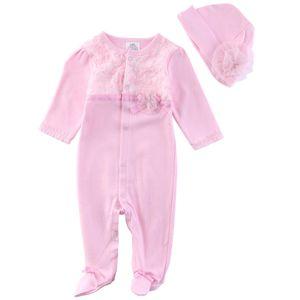 Infantil del bebé de los mamelucos del cordón de algodón de manga larga de una sola pieza del mono del equipo de la manera de los bebés fija Foral Ropa con los sombreros