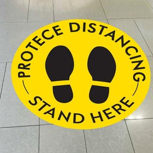 Dropship Social Warning Line Please Keep 6-Feet Away Sticker Floor Decals Posters Safety Floor Signature Stand Here Blue Yellow