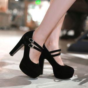 Насосы Флок новая обувь женщина маленькие ярды 32 33 большой размер 46 45 44 43 42 41 40 высокий каблук 12 см платформа 4 см EUR размер 31-47