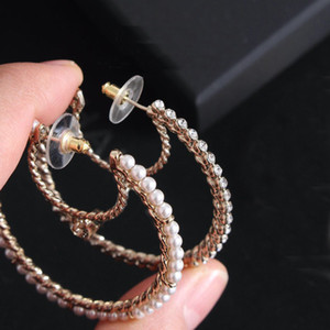 marca de moda pendientes de aro tienen marcas de luna perla aretes para mujeres de la señora boda del partido de casarse con la joyería amantes regalo de compromiso con la caja 0317