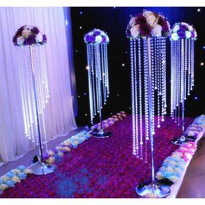 Funkelnde Hochzeit Kristall-Mittel Gehweg Aisle Korn-Vorhang Dekoration Acryl Blume Stand Tall Tabelle Kronleuchter Dekor Tortenständer