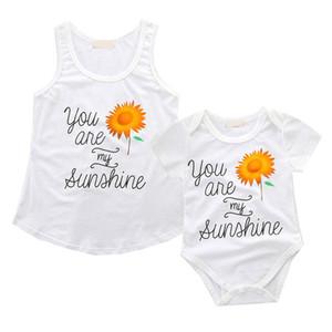 La madre y la hija Coincidencia de la técnica para mujer del chaleco de la blusa de los bebés recién nacidos Romper Mamá y yo