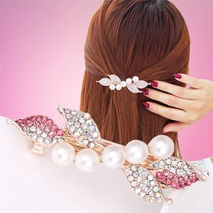Rhinestones Girls Side Bangs Clip 1pc Pinzas para el cabello coreanas Mujeres Hair Accories Pearl Barrette Hair Pins Spring Clip Crystal