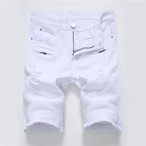 Holes Mens Jean Shorts Summer Straight Knee Length Designer Regular Mens Stretch Shorts