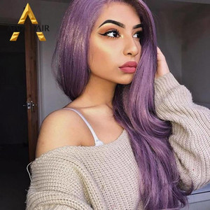 Aiva Hair Heat Resistant Synthetic Lace Front Wig Long Wavy Cosplay Purple Wig Glueless Free Part Wigs For Women