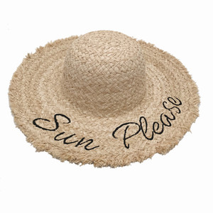 Straw big brim hat raffia grass embroidered letters female summer beach sun foldable
