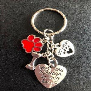 İyi Arkadaş Anahtarlık Emaye Kedi Köpek Paw Print Kemik Anahtarlık İçin Tuşlar Araba Vintage Gümüş Kolyeler Daima In My Kalp Anahtarlıklar 20pcs