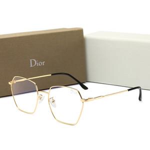Diseñador de verano Gafas de sol para hombres Nueva moda Anti-azul Gafas ligeras con marco completo para hombres Mujeres Espejo plano Gafas decorativas con caja