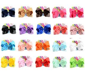 20 colores mezclados 8 pulgadas arco Jojo grande con tejido de tarjeta cinta poliéster pinza de pelo niña bowknot horquilla decoración del pelo de los niños