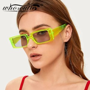 ВОЗ CUTIE 2020 Green Rec Женщины Brand Design 90s Vintage Прямоугольная рамка Мода Wide Солнцезащитные очки Женщины S186