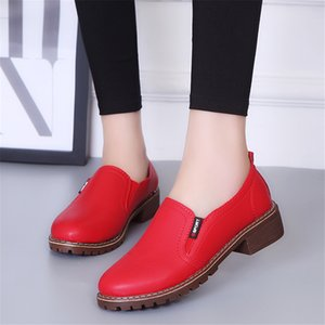 Slip On Leisure Retro Lady Woman Shoes Women 2019 Autumn Spring Red Black Classics Shoes Woman Female Oxford pumps