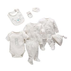 7 Pçs / set Tender Bebês Bebê Recém-nascido Da Menina do Menino Roupas de Algodão Macio Dos Desenhos Animados Do Bebê Crianças Roupas Set Roupas Infantis Confortáveis Y19050801