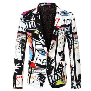 2019 yeni Takım Elbise ceket erkek moda baskı blazer büyük boy S-XXXL en çok satan erkek ince rahat blazer erkek hip hop şarkıcı takım elbise ceket