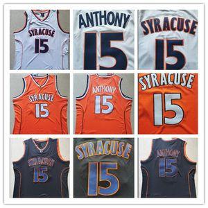 رأس رجل سيراكيوز أورانج Camerlo أنتوني كلية كرة السلة الفانيلة Camerlo أنتوني رقم 15 قميص جامعة NCAA مخيط كرة السلة جيرسي