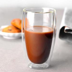 450ml tazas doble pared de vidrio claro hecho a mano resistente al calor mini té de la bebida de la bebida sana Copas taza Copas vidrio aislante