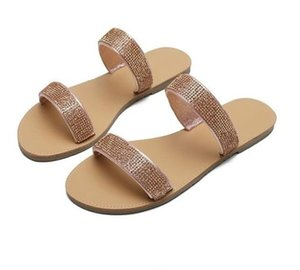 Summer Rhinestone Flats Ladies Sandals Casual Women Beach Slippers High Quality PH-CFY20061842