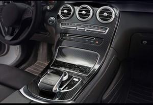 ABS cor de fibra de carbono sem relógio console painel de engrenagem quadro guarnição para mercedes benz c classe w205 2015-2018 glc x253 2016-2019