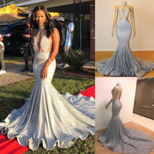 2020 Livelli Mermaid Custom Made argento Prom Dresses Illusion Keyhole collo paillettes Occasione increspature treno lungo degli abiti di sera BC067
