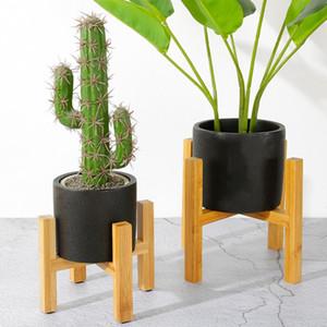 Portátil Individual Bay Flor Bamboo Levante Mini Flower Pot Titular Planta de vaso Prateleira quatro patas Vaso deslizamento Bracket