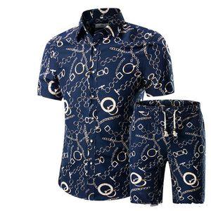Verano Casual Slim Fit T-shirt Hombres Camisas Hombre Pantalones cortos Set Nueva Impreso camisa hawaiana Homme corto vestido de traje de impresión masculino Conjuntos más tamaño