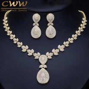 Toda la ventaCWWZircons Noble Micro Pave Cubic Zirconia Stones Lujo Dubai Gold Color Nupcial Collar de Boda Conjuntos de Joyas Para Mujeres T157