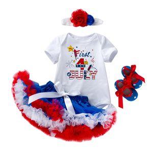Bebê recém-nascido macacãozinho Suit American National Roupa Dia Set Lace malha saias bebé meninas infantil Designer EUA 4 de julho roupa do bebê 060424