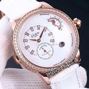Новый Grassuti Pano Matic Lunar Автоматическая Ladies женщин Часы розовое золото Алмазный диск белый циферблат Dimaond Палка Маркеры белого Кожа Hi_watch